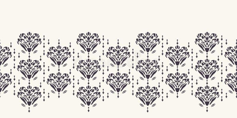 新艺术主义装饰花主题边界 Jugendstil样式丝带修剪 减速火箭的花卉锦缎纺织品磁带 ?? 向量例证