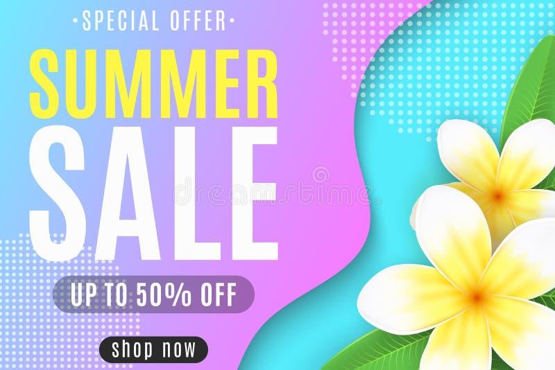 夏季销售的Web横幅 液体设计 彩色抽象形状 真实的热带花 特殊优惠 皇族释放例证