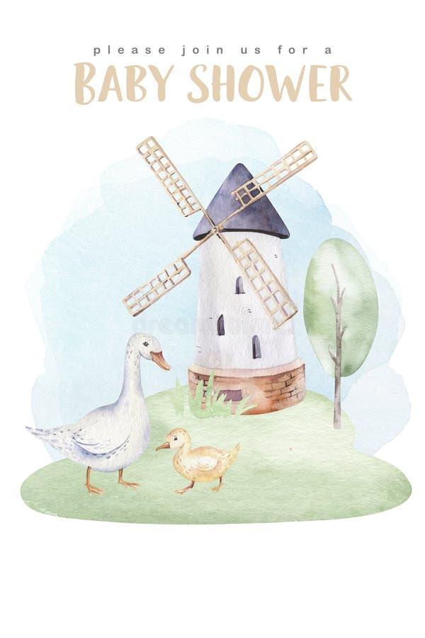 Комплект животных ферм Милые домашние животные на ферме рисуют водокраску лошадь гусь свинья коза цыплят овцы корова бесплатная иллюстрация
