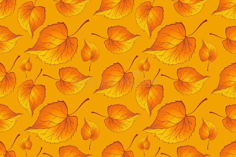 红橙秋叶黄 背景秋季花纹板无缝 蕨叶 织物的图案 蕨 库存例证