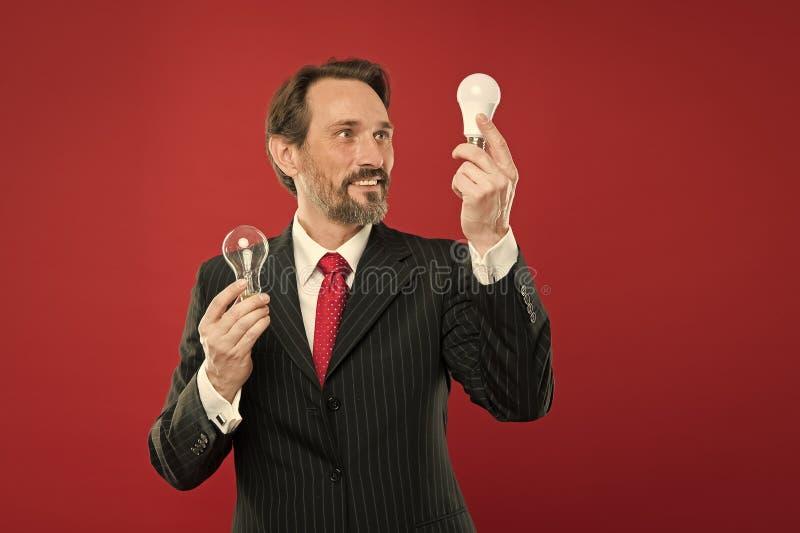 商业理念 环保理念 天才 开放您的业务 蓄胡子商人正装 免版税库存图片