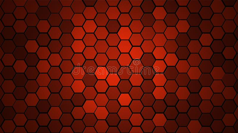 蜂窝栅格瓦片任意背景或六角细胞纹理 在与黑暗或黑梯度的颜色明亮的红色 Tecnology concep 免版税库存图片