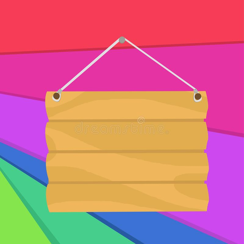 Placa de señalización en blanco de gancho preconfigurado a mano Cartel casero de madera vacía con pendiente para colgar fotografí ilustración del vector
