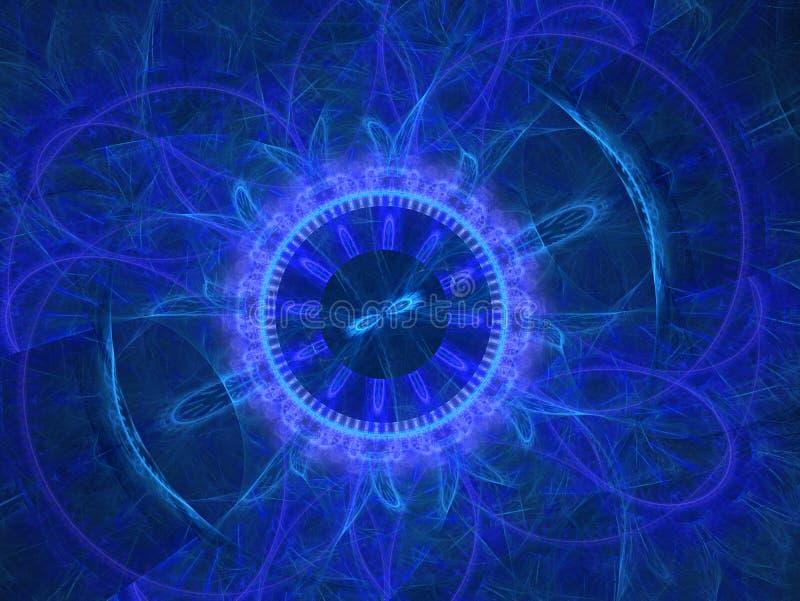 宇宙几何 在空间的轻的现象 闪光和闪电在疲倦天空中 抽象分数维坛场例证 ?treadled 向量例证