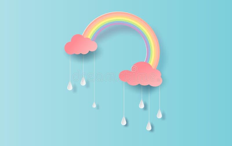 Ilustración del arco iris en la estación lluviosa Diseño de corte de papel para nubes y arco iris en tiempo de lluvia Diseño de p libre illustration