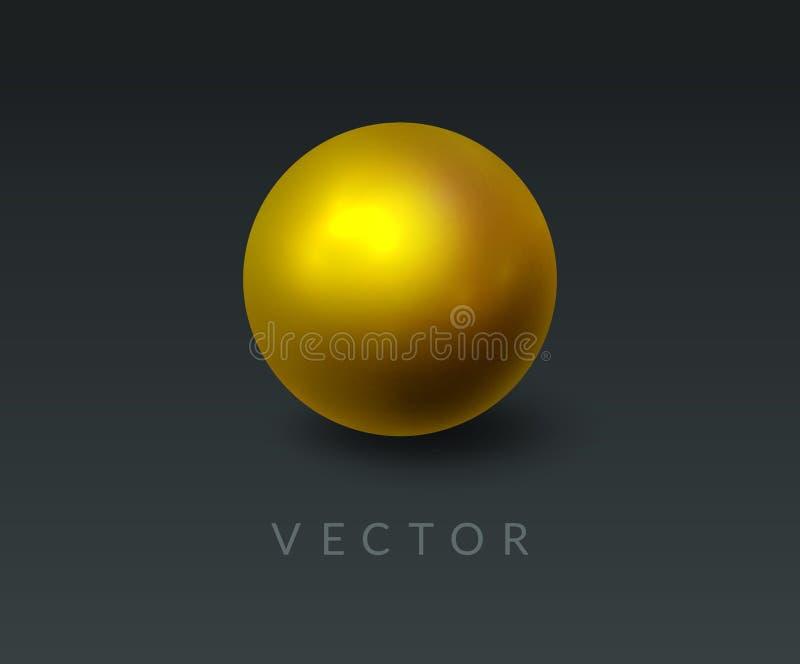 Goldrunde Kugel und 3D-Ball Realistischer Goldener Orb auf abstraktem dunklem Hintergrund Gestaltungselement für eine Luxusmarke vektor abbildung