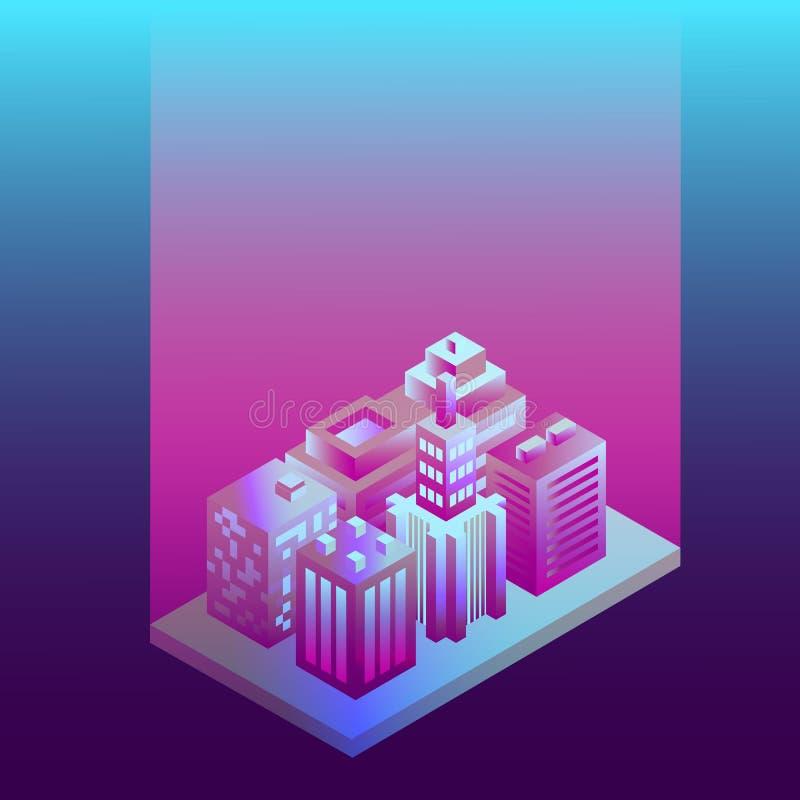 Città isometrica 3d a colori ultravioletti Architetture neonali Mappa 3d del concetto di isometria città per la progettazione azi illustrazione di stock
