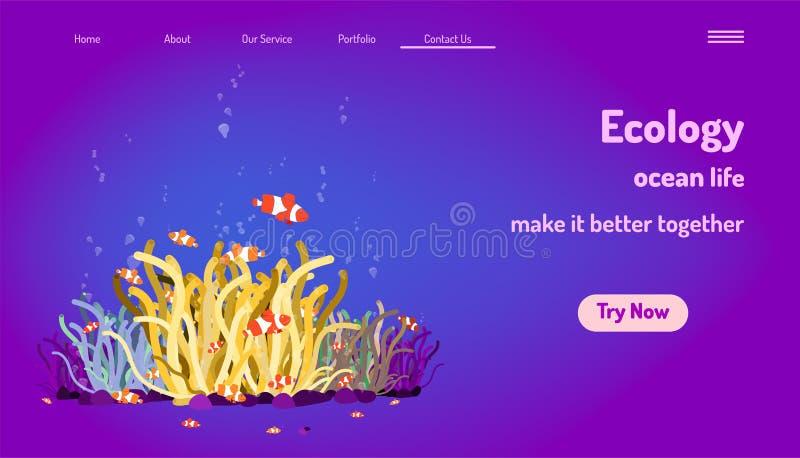 Modello d'atterraggio del sito Web della pagina vita dell'oceano di ecologia faccialo migliorare insieme il pesce di nemo gioca d royalty illustrazione gratis