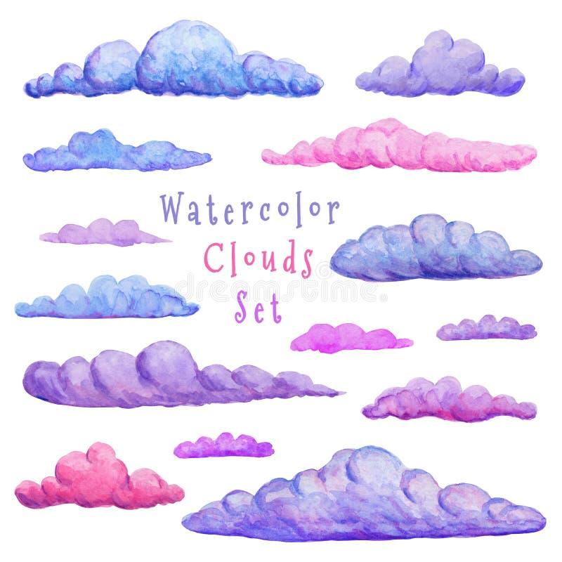 Vattenfärgmolnsamling Olik variation av moln modern abstrakt klistermärkeuppsättning Utdragna dekorativa moln för hand som isoler vektor illustrationer