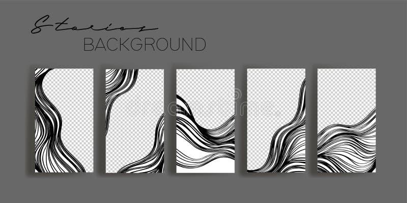 Szablony ramek wątków Instagram Mocowanie do baneru mediów społecznościowych Czarno-biały układ abstrakcyjny royalty ilustracja