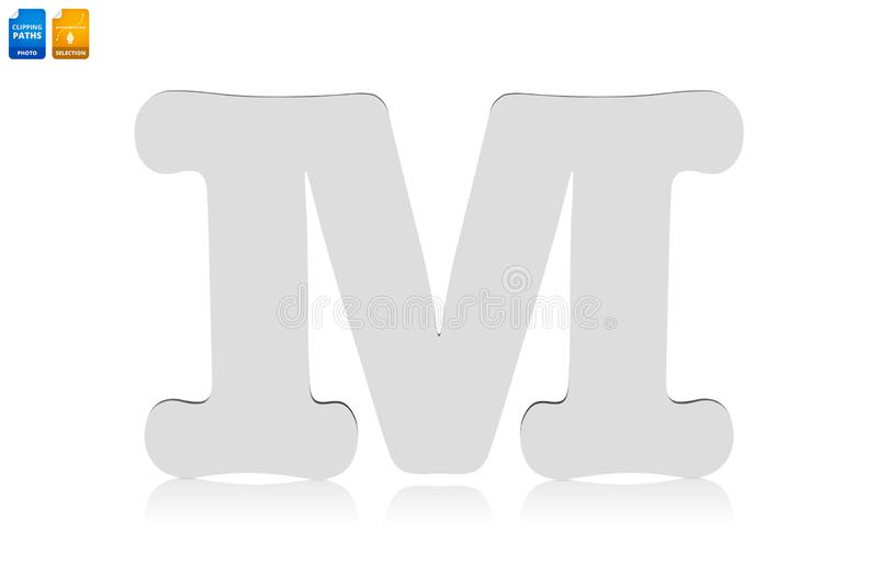 Cartas M hechas de material de madera aislado sobre fondo blanco Fuente de madera en blanco para el diseño Objeto de rutas de rec fotos de archivo