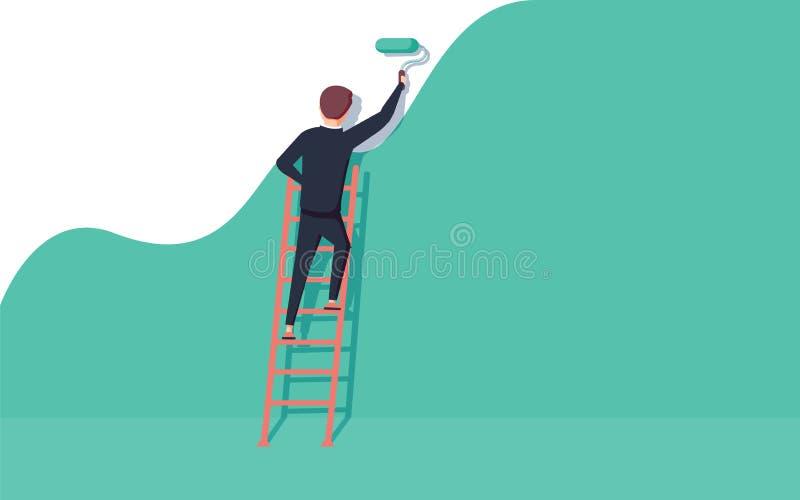 Målare som står på trappor målar väggen Människan håller färgrullen i handen Vektorillustration royaltyfri illustrationer