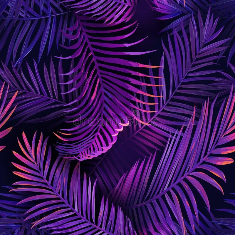 Tropiskt Neon Palm lämnar sömlöst mönster Jungle Purple Colour Floral Background Sommarexotisk botanisk lövning stock illustrationer