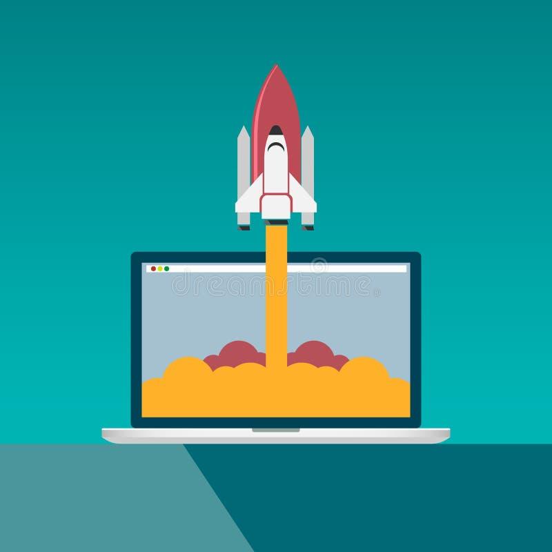 Lansering för utrymmeraket från en dator Begreppet för den nya idén, projekt startar upp, nya produkten eller service ocks? vekto vektor illustrationer