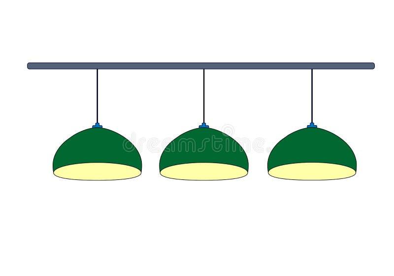 Zielona lampa dwulicowa z zielonym drzewem w pobliżu z żółtym światłem Zielony wiersz: 3 lampy dwulicowe do oświetlenia tabeli ba royalty ilustracja