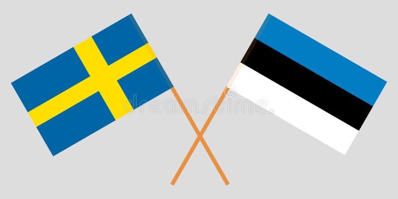 Estland en Zweden De Estse en Zweedse vlag Officieel aandeel Kleuren corrigeren Vector vector illustratie
