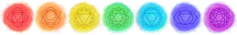 Chakras集:穆拉达拉, swadhisthana, manipura, anahata, vishuddha, ajna, sahasrara 矢量线符号 Om符号 烟圈 向量例证