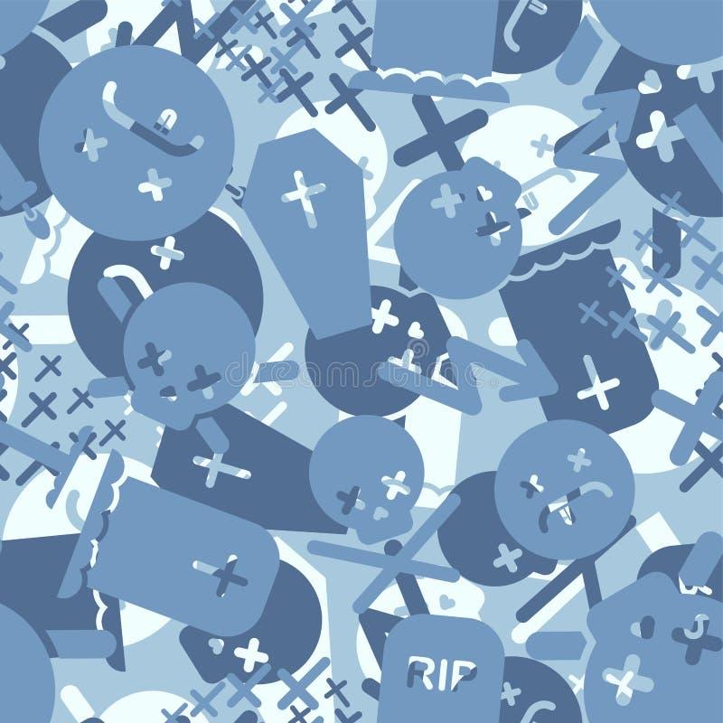 Azul de morte Padrão de camuflagem militar sem descontinuidades Fundo de Tombstone e de Khaki cruzado Ornamento de proteção do ex ilustração royalty free