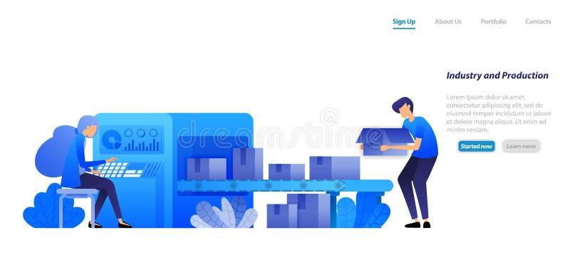Przemysł maszynowy 4 0 i fabryczną produkcję, przenośniki taśmowe skrzynie wysyłkowe silnika są obsługiwane przez kobietę koncepc ilustracji