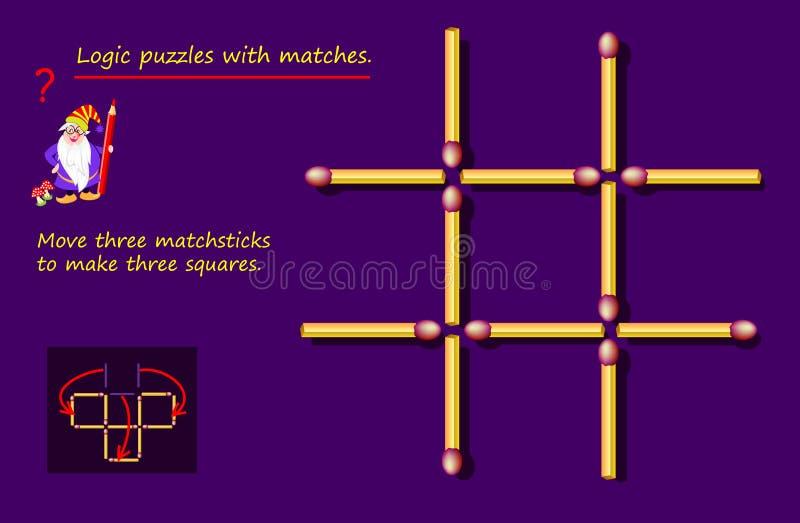 Jeu de puzzle logique avec matchs Besoin de déplacer trois bâtonnets pour faire trois carrés Page imprimable pour un livre de cer illustration stock