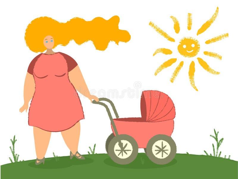 Madre con ilustración vectorial de carro de bebé Mamá con recién nacido en Pram Mujer con un niño caminando en un parque ilustración del vector