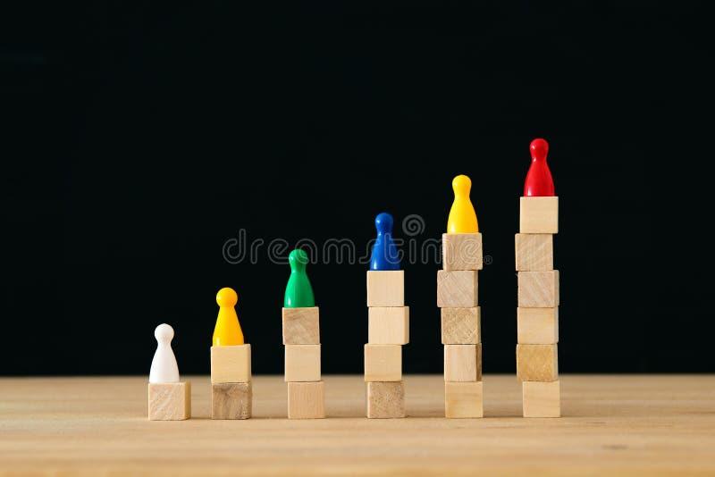 kleurvolle getallen voor houten blokken conceptafbeelding van het bouwen van een winnend team menselijk potentieel en beheer stock afbeelding