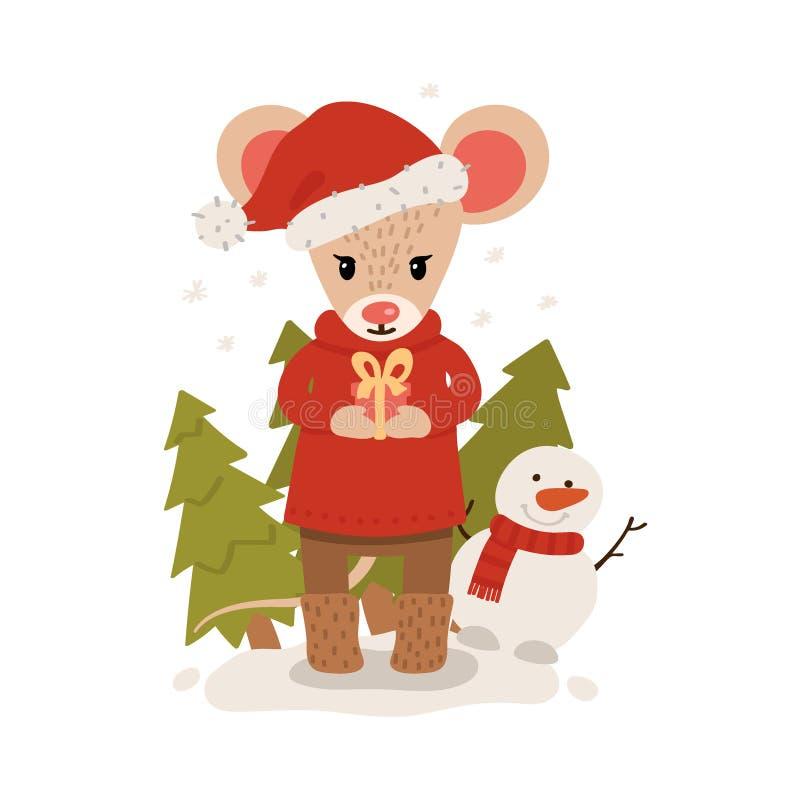 Mysz z puszką prezentu wśród choinek świątecznych Święta Bożego Narodzenia i Nowy Rok wyizolowane na białym tle Karta pocztowa We ilustracja wektor