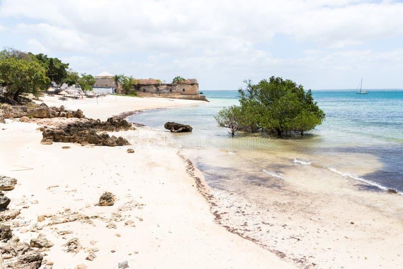 Lege zandstrand van het Mozambikaanse eiland, mangroves en resten van een koloniaal huis, Indische oceaan Nampula Portugees Oost- stock fotografie