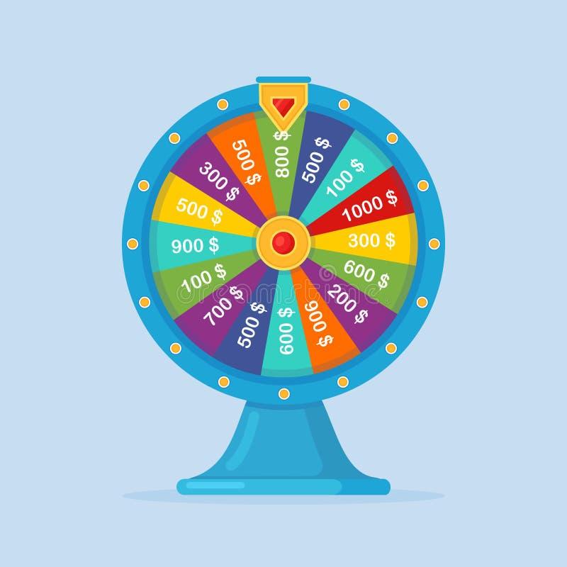 Roda da fortuna isolada sobre fundo Roulette da fortuna Loteria, jogo no conceito de casino Design de desenho de vídeo imagens de stock