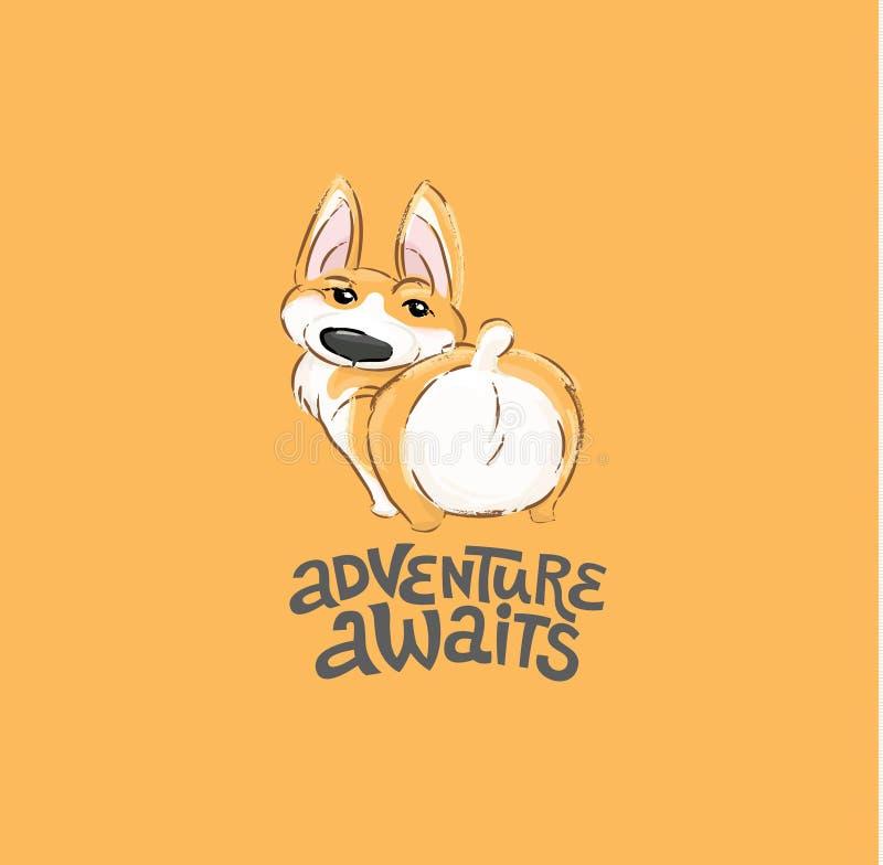 Illustrazione vettoriale carattere Cute Corgi Scherzosa vista posteriore di un piccolo animale con puppy per la stampa tipografic illustrazione di stock