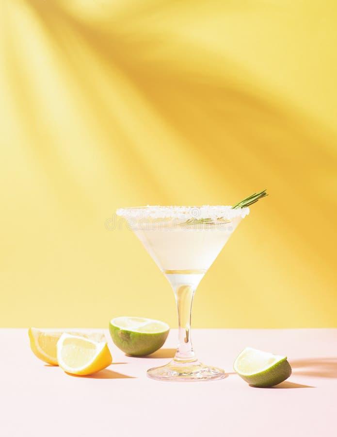 Uma bebida do limão e do cal em um vidro elegante contra o fundo com sol brilhante e de sombras afiadas da planta imagens de stock royalty free