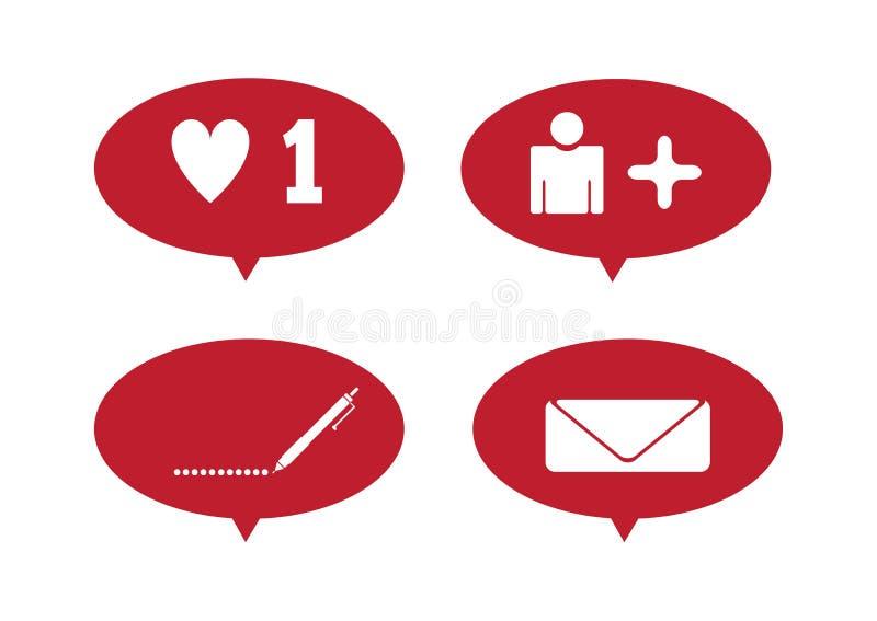 Ustaw powiadomienia dla sieci społecznościowych Jak, wiadomość, komentarz, subskrybent Ilustracja wektorowa royalty ilustracja