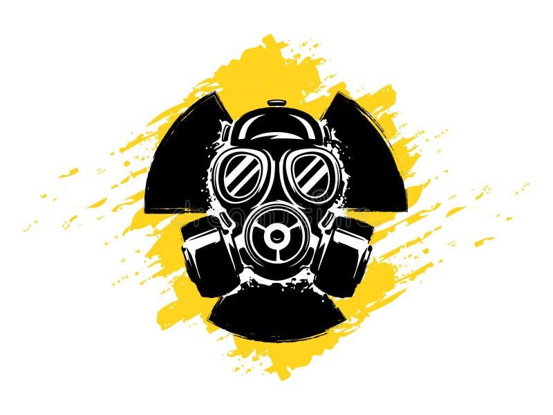 Zeichen von Radioaktivität mit Gasmaske-Schmutzvektorillustration Konzept der Verschmutzung und der Gefahr Radioaktives Zeichen r lizenzfreie abbildung