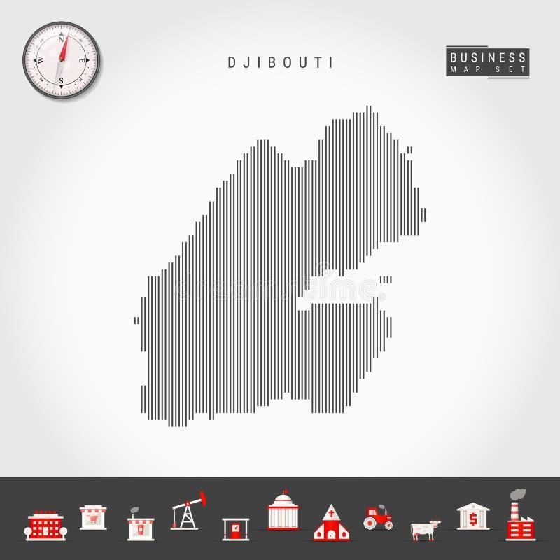Wektorowa mapa linii pionowych Dżibuti Sylwetka Dżibuti Kompas Realistyczny Ikony biznesowe royalty ilustracja