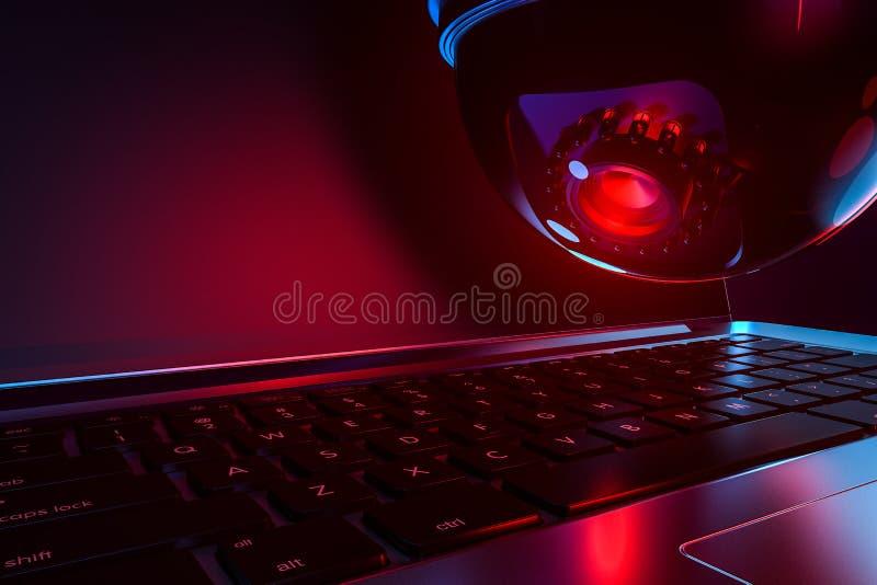 Gran ojo rojo de cúpula cctv mira el teclado y la pantalla del portátil Concepto de supervisión y crisis de confianza de la Ofici ilustración del vector