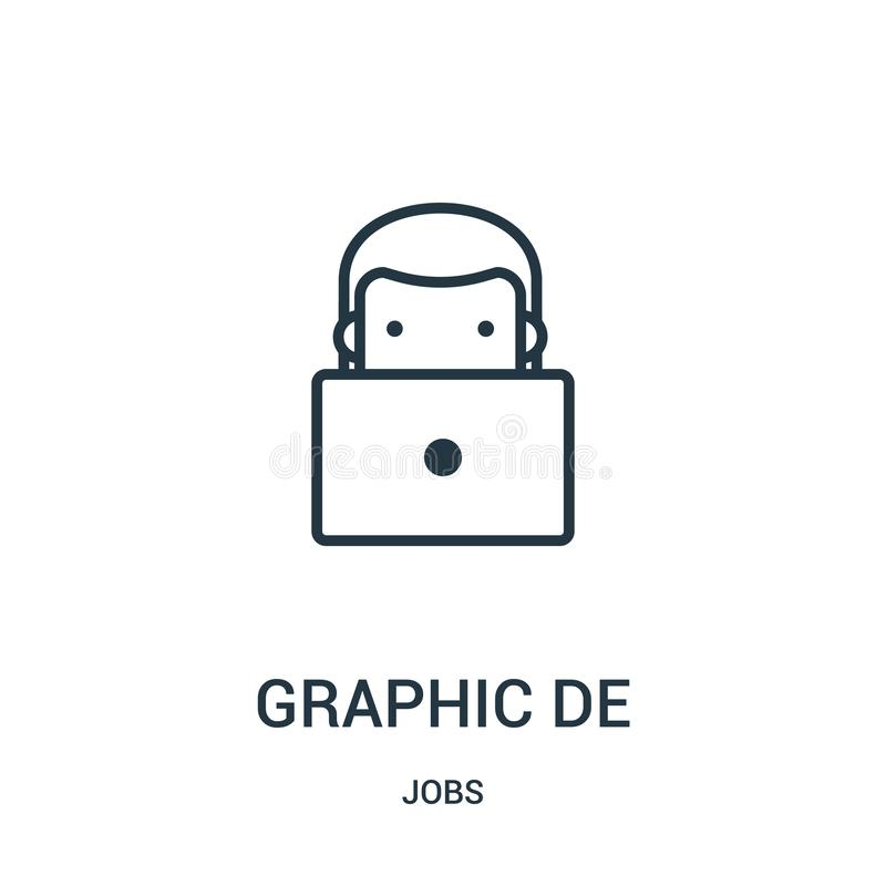 vetor do ícone do designer gráfico da coleção de trabalhos Ilustração vetorial do ícone do outline do designer de gráficos de lin ilustração do vetor