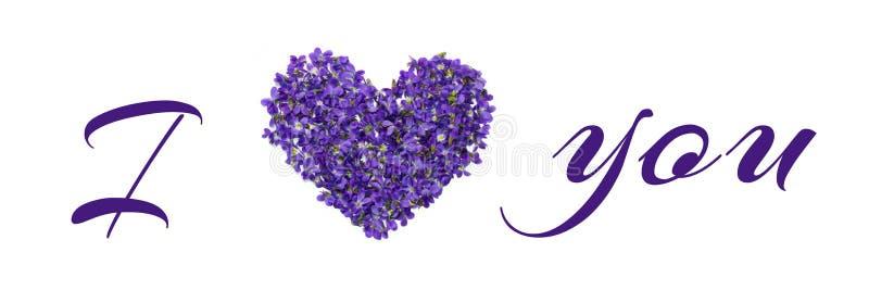 Aimez-vous les mots écrits avec des fleurs et des lettres isolées sur fond blanc Violets aiment le texte Salutation de Saint-Vale photos libres de droits