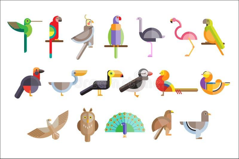 Colorido conjunto de aves Pelícano, búho, toucan, águila, pavo real, loro, halcón, flamingo, paloma, faisán Salvaje stock de ilustración