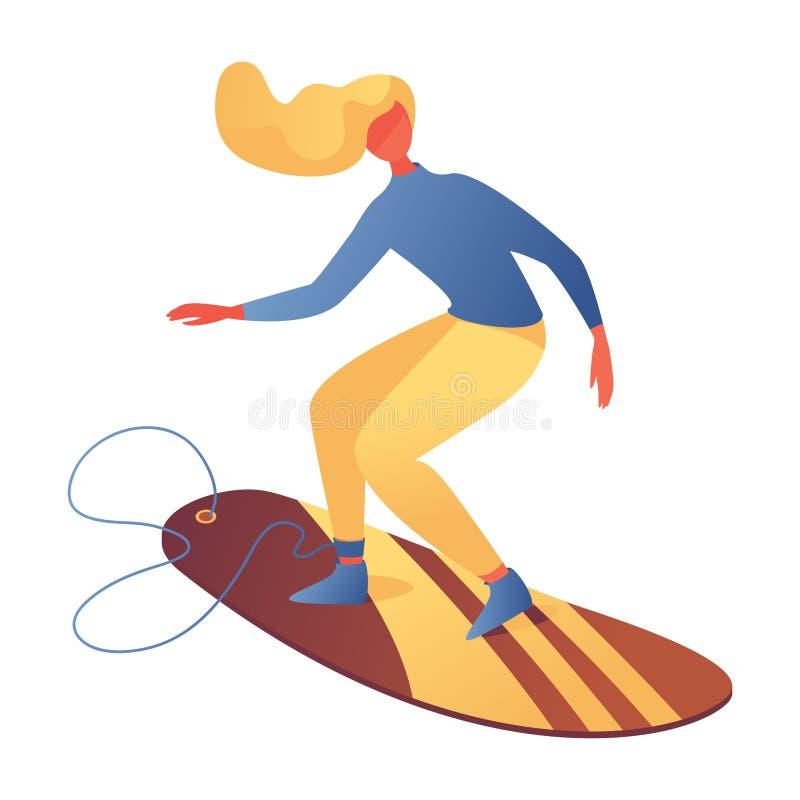Joven en la tabla de surf, aislada en blanco Carácter activo en estilo plano, bueno para escuelas de surf o clases Saludable y libre illustration
