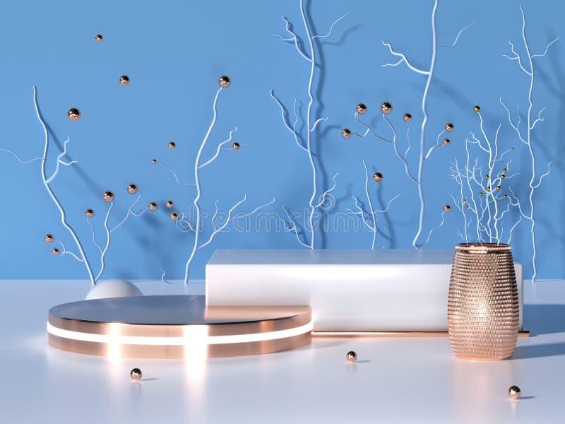 Géométrie 3D à poteaux de rendu avec éléments en bleu rose et or en hiver Podium blanc abstrait Scène minimale illustration de vecteur