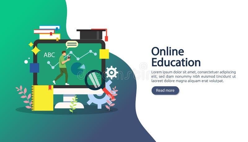 E-Learning-Konzept mit Computer, Buch und winzigen Menschen Charakter in der Studie E-Book- oder Online-Schulung Webvorlage lizenzfreie abbildung