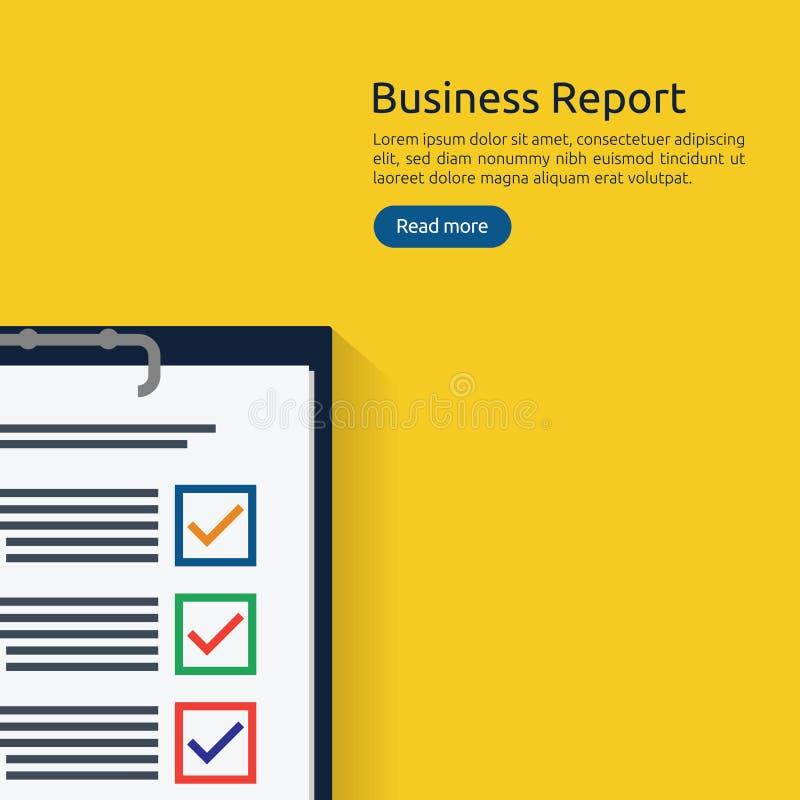 Koncepcja analityka biznesowego lub raportu z badań finansowych kontrola księgowości finansowej - dokument w formie dokumentu w f ilustracja wektor
