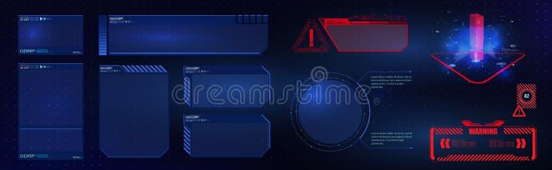 Elementuppsättning för det futuristiska användargränssnittet för HUD UI GUI Högteknologisk skärm för videospel Sci-fi-konceptdesi royaltyfri illustrationer