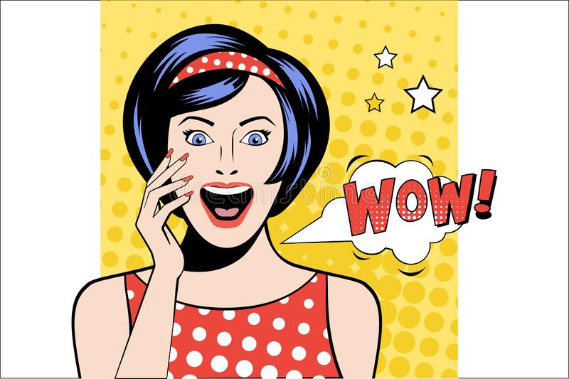 Mujer guapa con expresión de cara sorprendida Burbuja de habla blanca con palabra WOW Señora con boca abierta Niña emocional stock de ilustración
