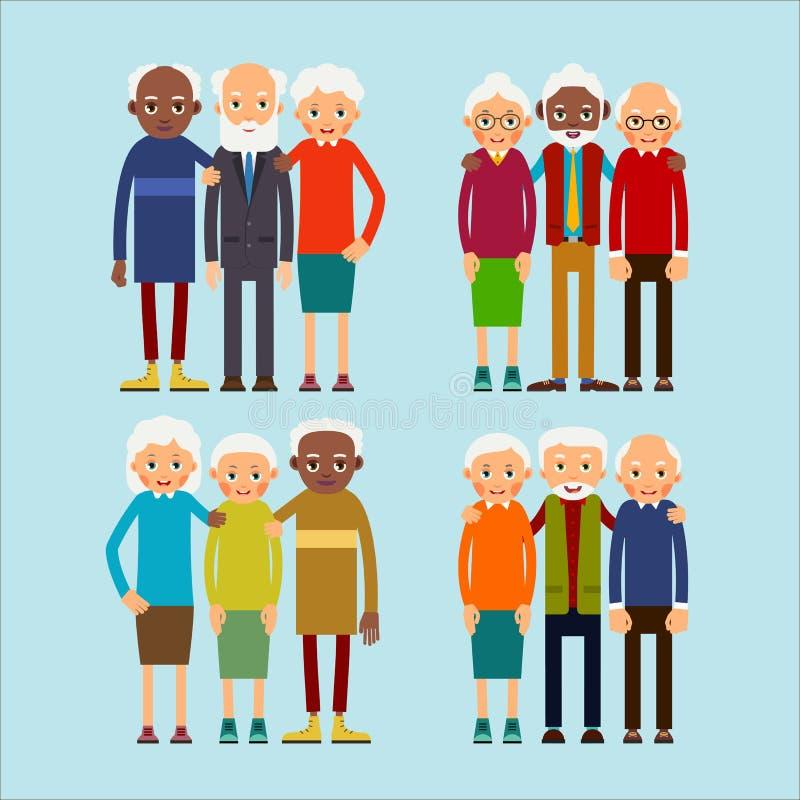 Stare osoby Starsi mężczyźni i kobiety europejczycy oraz afrykańscy amerykańscy przyjaciele etniczni Starszy stażysta i ściskając royalty ilustracja