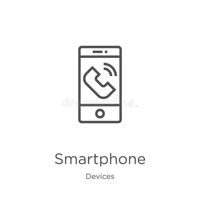 智能手机图标向量 细线智能手机轮廓图标矢量图 轮廓,细线 库存例证