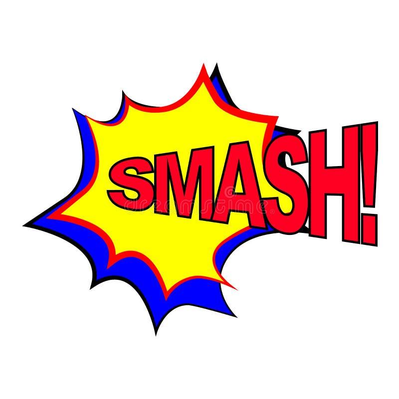 Сплошной текст речевой речи Значок звукового выражения стиля Pop Art SMASH Вектор бесплатная иллюстрация