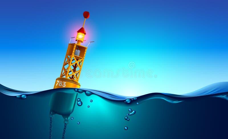 Sjöorangefärgade buoy flytande i havet vid gryningen Sjöbojar har utrustning för navigationsmeteorologi, flygblad på vågor Delad  royaltyfri illustrationer