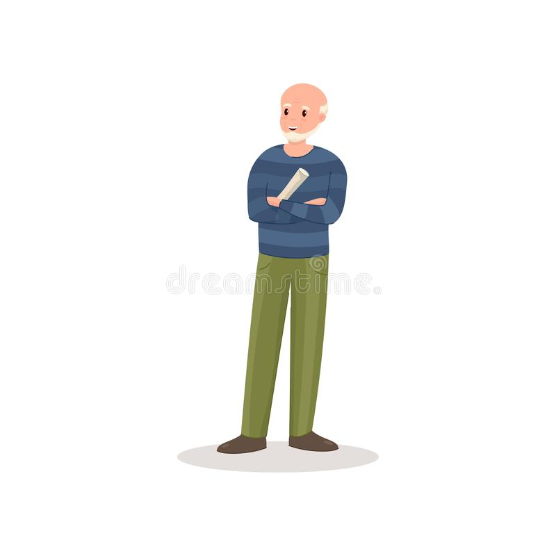 Uomo senior calvo sveglio con i pantaloni verdi ed il giornale fresco illustrazione di stock