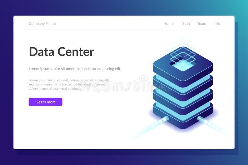 Webbmall för datacenter Utrustning i serverrummet Stor datorkraft Modern teknik Superdator stock illustrationer